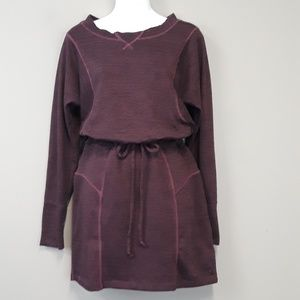 Athleta Purple Drawstring sweatshirt midi Dress